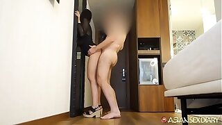 Katana takes white friend in mouth and bends over to offer cute little ass